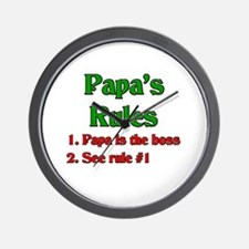 Italian Papa's Rules Wall Clock