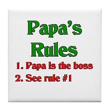 Italian Papa's Rules Tile Coaster