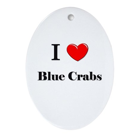 I Love Blue Crabs Oval Ornament