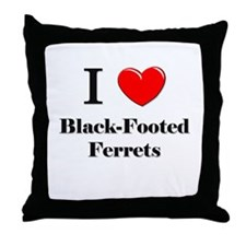 I Love Black-Footed Ferrets Throw Pillow