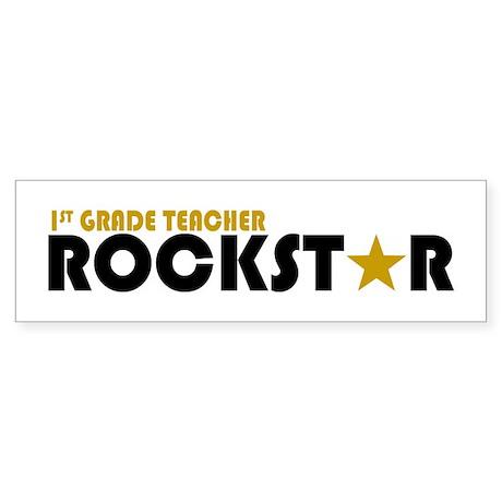 1st Grade Teacher Rockstar 2 Bumper Sticker