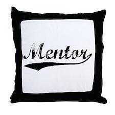 Vintage Mentor (Black) Throw Pillow