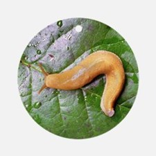 Banana Slug on Leaf Ornament (Round)