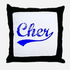 Vintage Cher (Blue) Throw Pillow