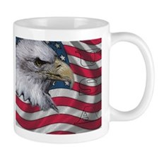 Eagle Head & American Flag ~ Mug