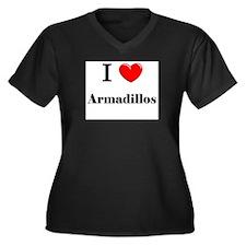 I Love Armadillos Women's Plus Size V-Neck Dark T-