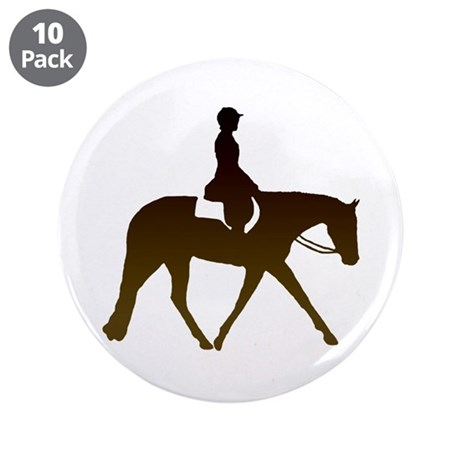 "Hunter horse in brown 3.5"" Button (10 pack)"