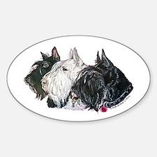 Scottish Terrier Trio Sticker (Oval)