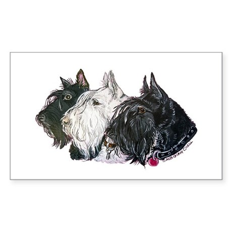 Scottish Terrier Trio Sticker (Rectangle)