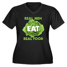 Real Men Eat Real Food Women's Plus Size V-Neck Da