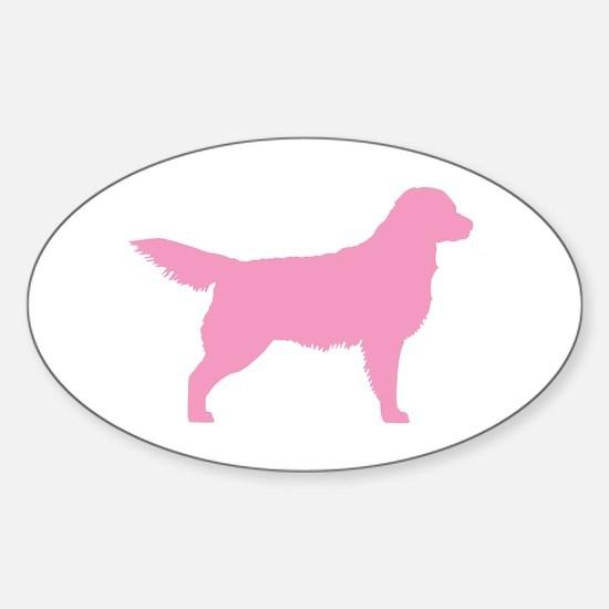 Pink Golden Retriever Oval Decal