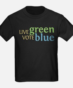 Live Green Vote Blue Kids T Shirt (Dark)