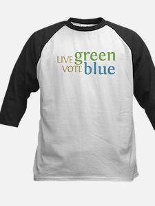 Live Green Vote Blue Kids Baseball Jersey