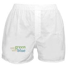 Live Green Vote Blue Boxer Shorts