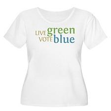 Live Green Vote Blue Plus Size T-Shirt (Scoop Neck