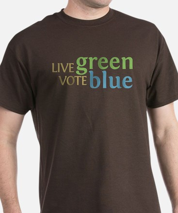 Live Green Vote Blue T-Shirt (Dark)