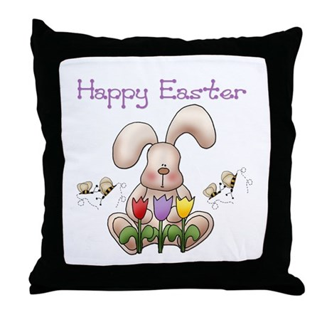 Easter Bunny - Happy Easter 3 Throw Pillow