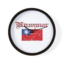 Myanmar Flag Wall Clock