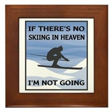 Skiing In Heaven Framed Tile