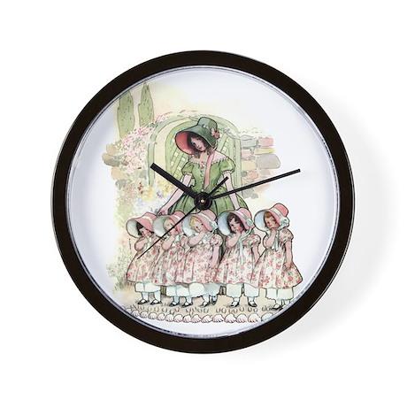 FIVE PRETTY MAIDS IN A ROW Wall Clock