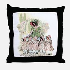 FIVE PRETTY MAIDS IN A ROW Throw Pillow