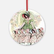 FIVE PRETTY MAIDS IN A ROW Ornament (Round)