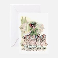 FIVE PRETTY MAIDS IN A ROW Greeting Card
