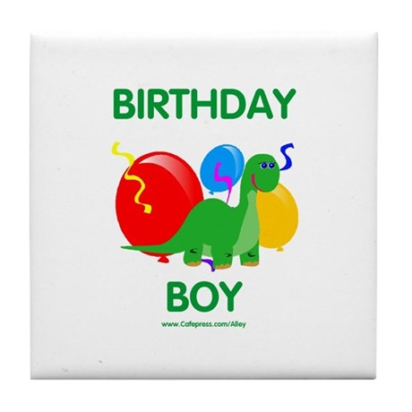 Birthday Boy Dinosaur Tile Coaster