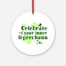 Celebrate Inner Leprechaun Ornament (Round)