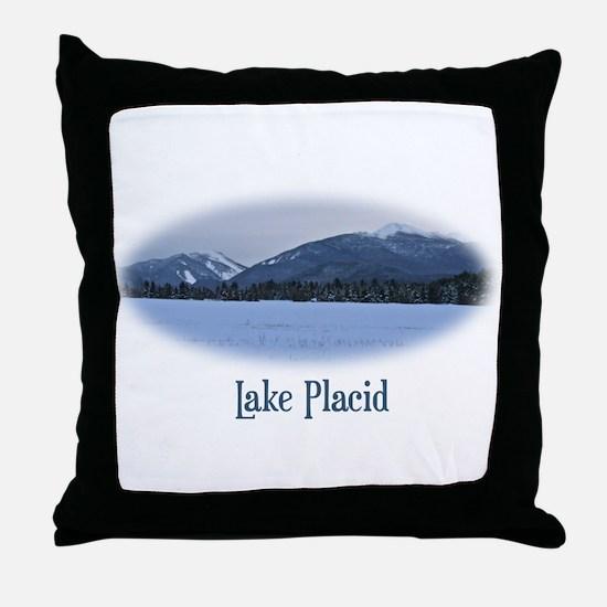 Lake Placid Mountain Throw Pillow