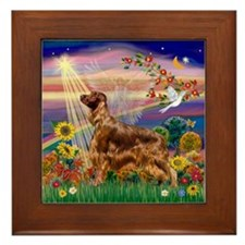 Autumn Angel & Irish Setter Framed Tile