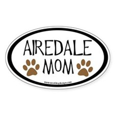 Airedale Mom Oval (inner border) Oval Decal