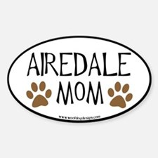 Airedale Mom Oval (black border) Oval Decal