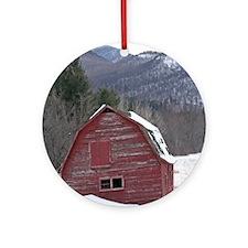 Adirondack Barn In The Snow Ornament (Round)