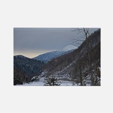Snow Covered Mountain At Sunset Rectangle Magnet (