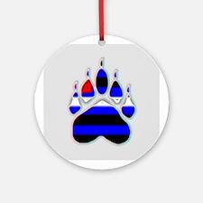 LEATHER PRIDE BEAR PAW/GLASSY Ornament (Round)