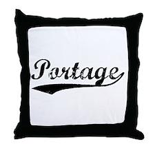 Vintage Portage (Black) Throw Pillow