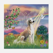 Cloud Angel & Saluki Tile Coaster