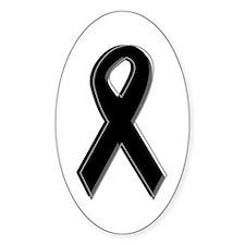 Black Awareness Ribbon Oval Decal