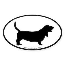 Basset Hound Oval (black border) Oval Decal