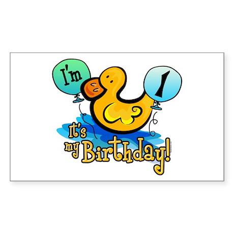 Ducky Birthday 1st Rectangle Sticker