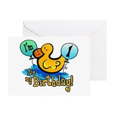 Ducky Birthday 1st Greeting Card