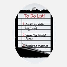 Massage To Do List Oval Ornament