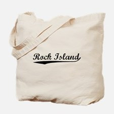 Vintage Rock Island (Black) Tote Bag