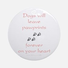 Dog Pawprints On The Heart Ornament (Round)