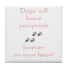 Dog Pawprints On The Heart Tile Coaster