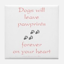 Dog Pawprints On The Heart Tile Coaster