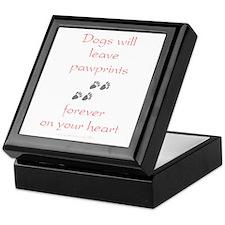 Dog Pawprints On The Heart Keepsake Box