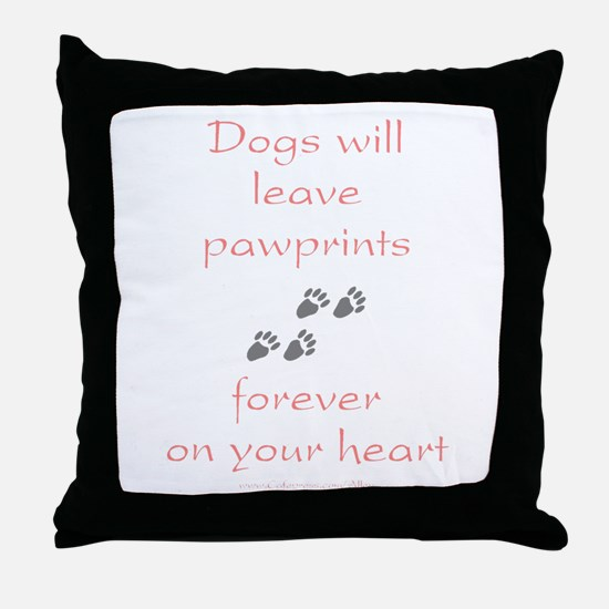 Dog Pawprints On The Heart Throw Pillow