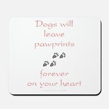 Dog Pawprints On The Heart Mousepad